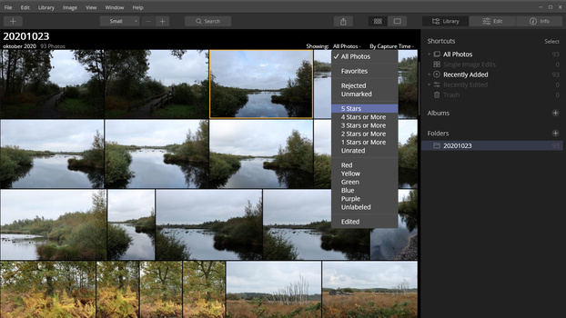 Luminar 4 offers the use of star ratings and color ratings.
