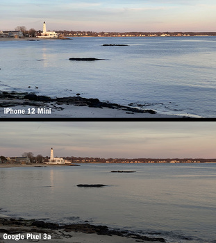 Software-based zoom comparison between iPhone 12 Mini and Google Pixel 3a.