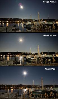 Night shot comparison between Google Pixel 3a, iPhone 12 Mini and Nikon D750.