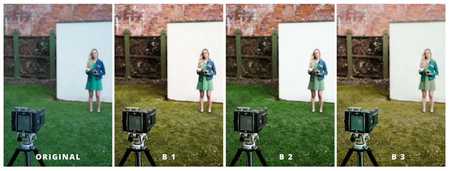 A comparison of four images featuring a blonde young woman and a camera.