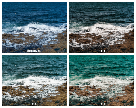 A collage of four shots of a beach water.