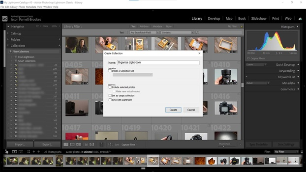 Add a collection in Lightroom