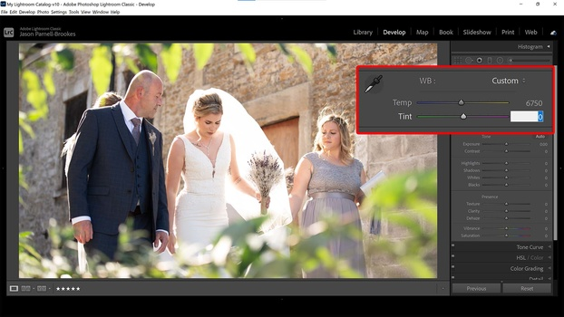 Refine white balance with sliders in lightroom