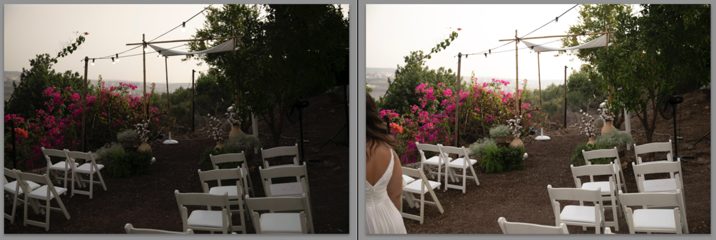 A side by side comparison of two images of an outdoor wedding ceremony.