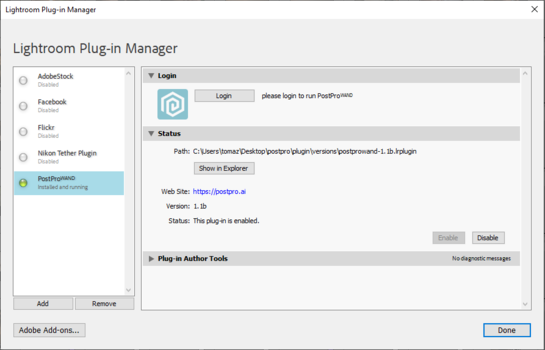 Lightroom Plug-in manage screenshot.