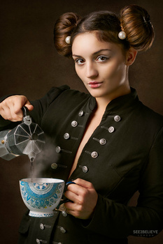 Girl with a Coffee Cup by JJ Jordan
