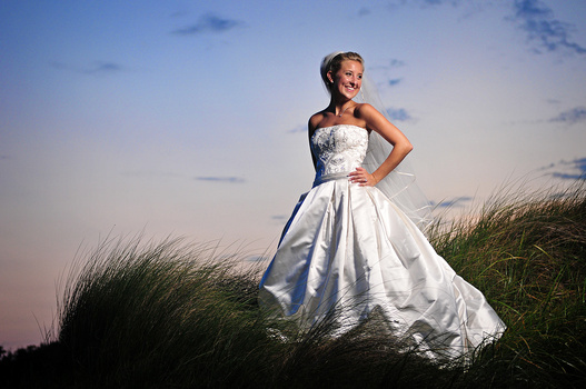 Bridal portrait at sunset
