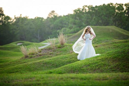 Golf course bridal portrait