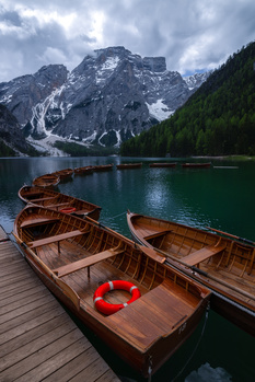 Boats in Lake Braies by Giulio Mignani