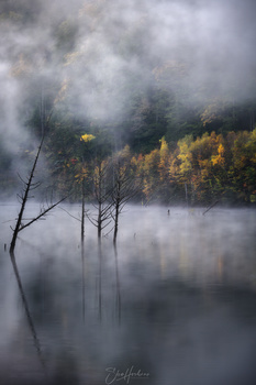 Autumn lake in the morning mist by Sho Hoshino