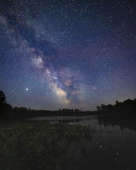 Milky Way over Island Lake, MI by Stephen Yokley