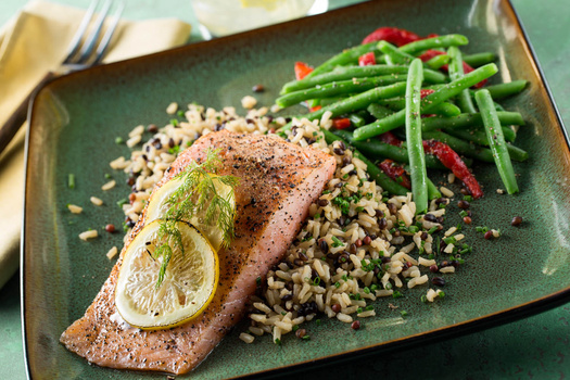 Salmon on a Bed of Wild Grain Rice