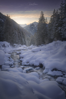 Snow sunset by Paolo Montanari