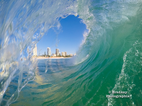 Surfers Paradise through the barrel