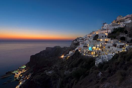Santorini Oia Sunset Blue Hour