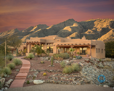 Arizona desert home at sunset
