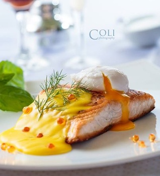 Seared Salmon Lemon Hollandaise Poached Egg and Caviar