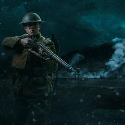 America WWI Soldier in battle