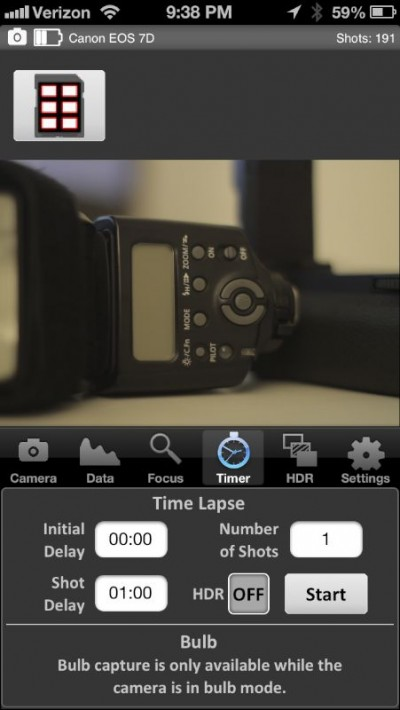 iPhone intervalometer and HDR feature