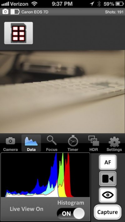 iPhone histogram