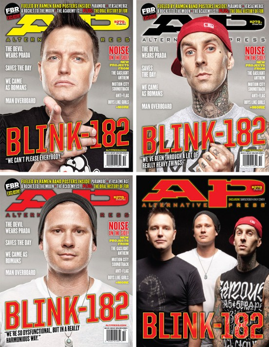 Blink 182: 4 covers and 8 pages of inside magazine content on 3 different backdrops in less than 30 minutes