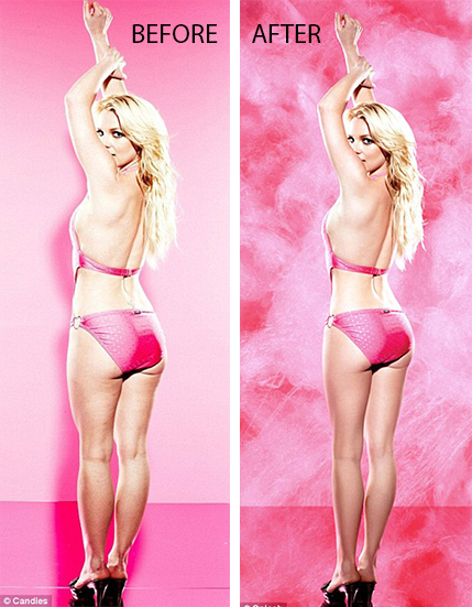 In 2011 Britney Spears let airbrushed images from a Candie's shoot to be released along with the originals.