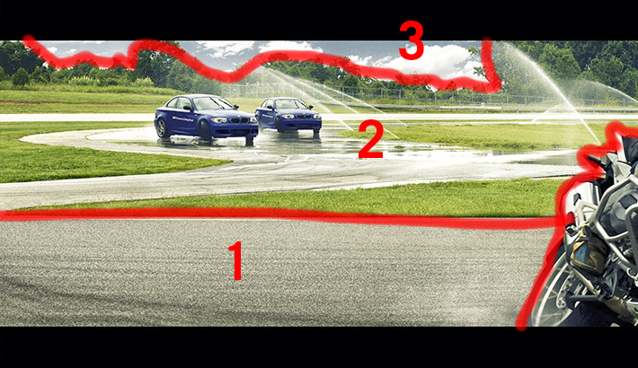 """An example of one section from the composite. Each number represents a different image that was stitched into the final image. It was a challenge to shoot the wet track in image """"2"""" to fit the perspective of image 1 because in real life the 2 sections of the track were much further apart"""
