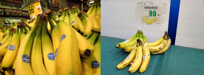 """I took the photo of the beautiful bananas in a large, chain supermarket in a nice neighborhood. The other bananas, which were over-ripe and more expensive, were in little corner bodega in a low-income neighborhood. It struck me that people living in poverty have no chance of eating nutritionally with that kind of disparity."" - Caroline Pooler"