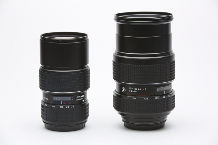 75-150 focal plane shutter lens (left) vs the 75-150 leaf shutter lens (right)