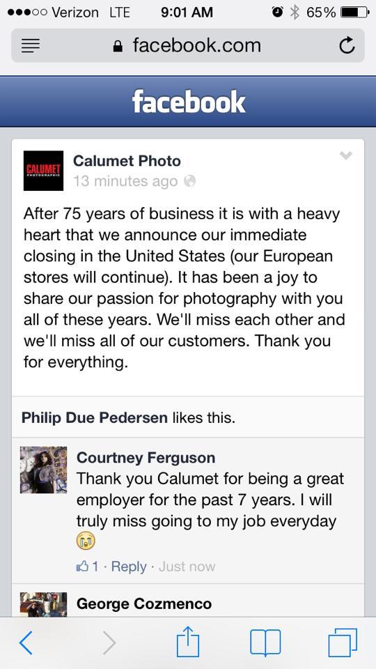 Calumet Photographic Fstoppers Calumet Photographic U.S. Stores CLOSED