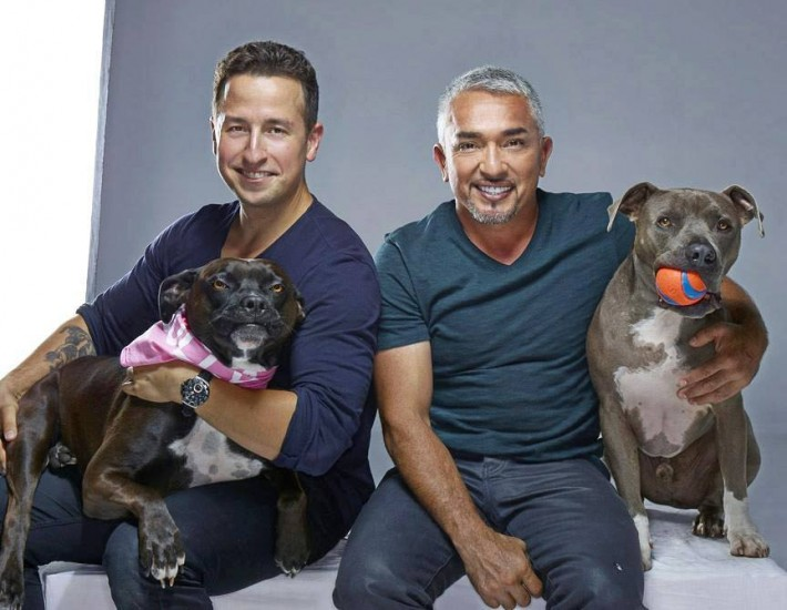 On set with Cesar Millan, Emma, and Junior. Photo by my shoot assistant Jonathan Taylor