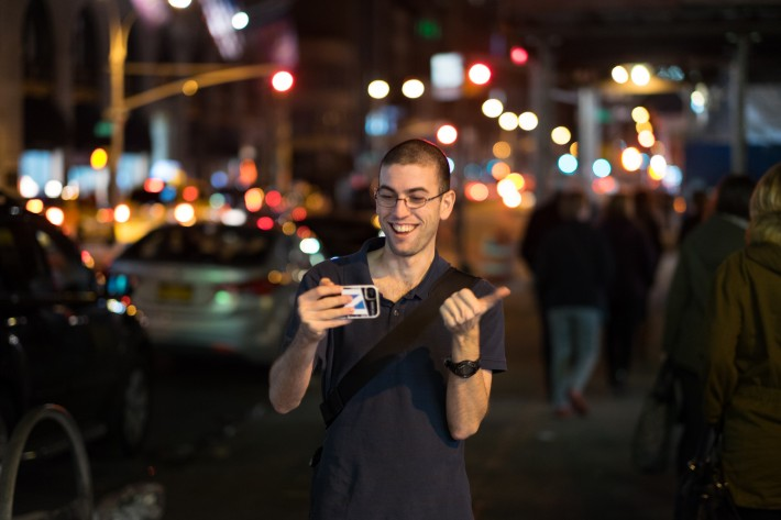 Noam Galai helps demonstrate the bokeh at night